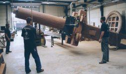 Le remplacement du pivot du moulin des Olieux à Villeneuve d'Ascq