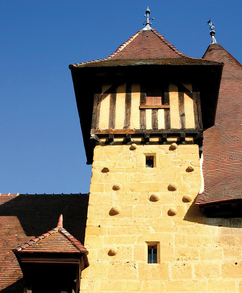 Tourelle de guet, façade sud, Tour du Moulin. Photo A. Allier