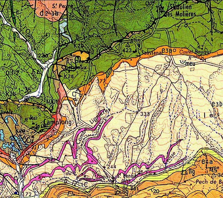 Carte géologique de Lésignan - Corbières (Nous remercions vivement Nicole Guerrero et Fréderic Christophoul de l'Université P. Sabatier de Toulouse)